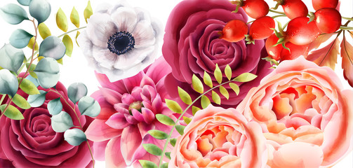 FototapetaWatercolor rose flowers, berries and leaves autumn background vector. Floral bouquet decor