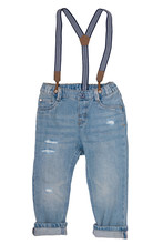 Jeans Isolated. Trendy Stylish Blue Denim Pant Or Trousers For Child Boy With Striped Suspenders Isolated On A White Background. Jeans Summer And Autumn Fashion. Front View.