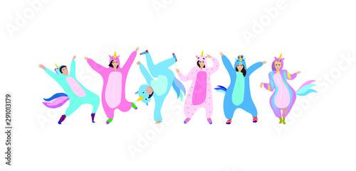 Set of men and women dressed in  unicorn pajamas or kigurumi. Celebration. Vector illustration. - 291013179