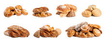 Set With Different Fresh Loaves Of Bread And Pastries On White Background