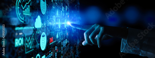Business data analytics process management with businesswoman hand touching connected gear cogs with KPI financial charts and graph and automated marketing dashboard.