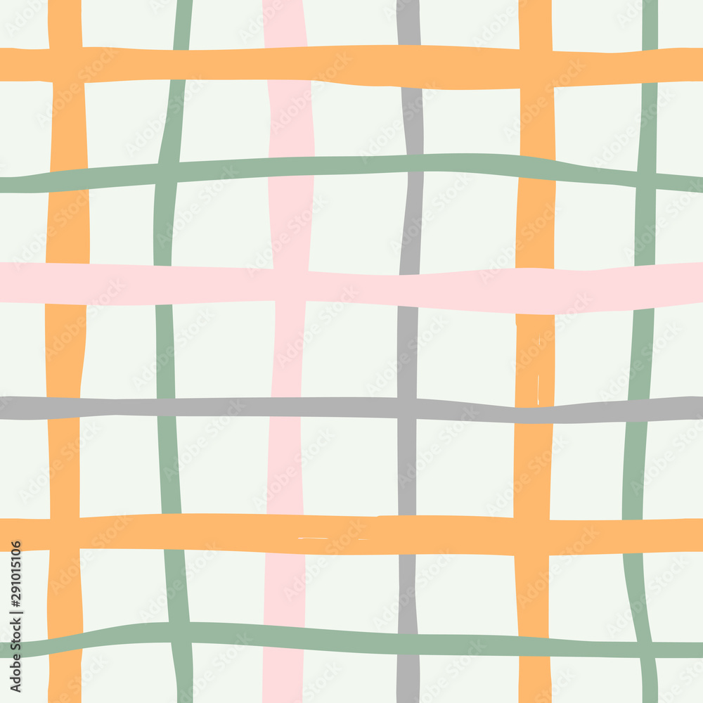 Contemporary modern abstract art background. Colorful plaid fabric ornament  abstraction, trendy vector flat hand  drawn illustration, made as seamless repeat pattern.