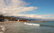 Landscape Ligurian sea with blue sky with cloudy