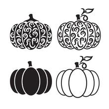 Vector Cut Out Pumpkin Decorat...