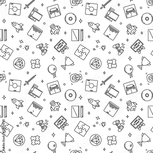 fototapeta na lodówkę Video Games outline pattern. Vector game concept seamless background