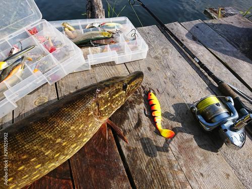 wędkowanie z pomostu nad jeziorem Canvas Print
