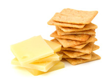Delicious Crackers With Cheese On White Background