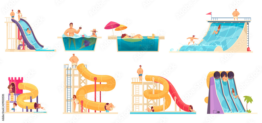 Fototapety, obrazy: Aqua Park People Set