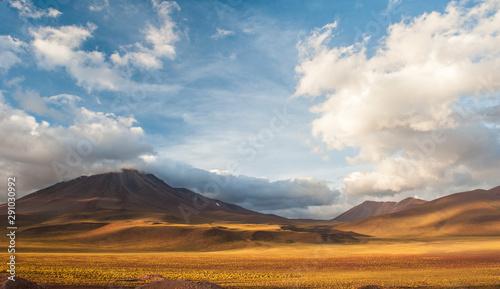 Fotografie, Obraz  Sunset light on volcanos of Atacama Desert
