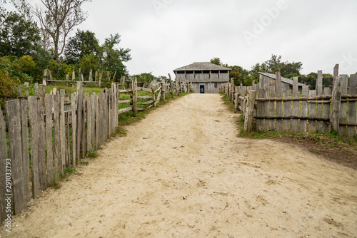 Fotografia, Obraz Old buildings in Plimoth plantation at Plymouth, MA