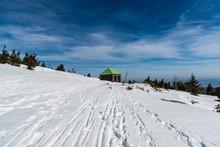 Stone Hut On Jeleni Studanka In Winter Jeseniky Mountains In Czech Republic