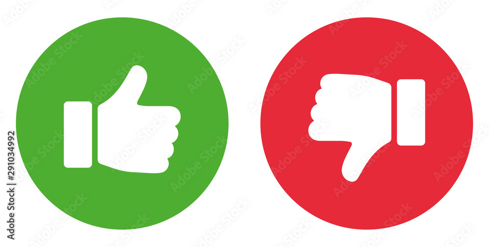 Fototapety, obrazy: Thumbs up and thumbs down. Like icon. Stock vector