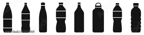 Fotografía Water bottle set. Plastic bottle collection. Vector illustration