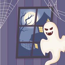 Creepy Ghost House Moon Night ...