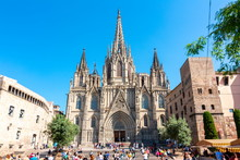 Cathedral Of Holy Cross And Saint Eulalia In Gothic Quarter, Barcelona, Spain