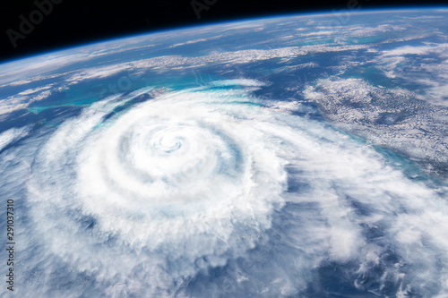 Photo sur Toile Spirale Weather illustration. Hurricane warning. Tropical storm. Some elements of this image furnished by NASA