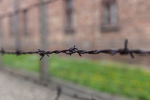 Stretched Old Rusty Barbed Wire