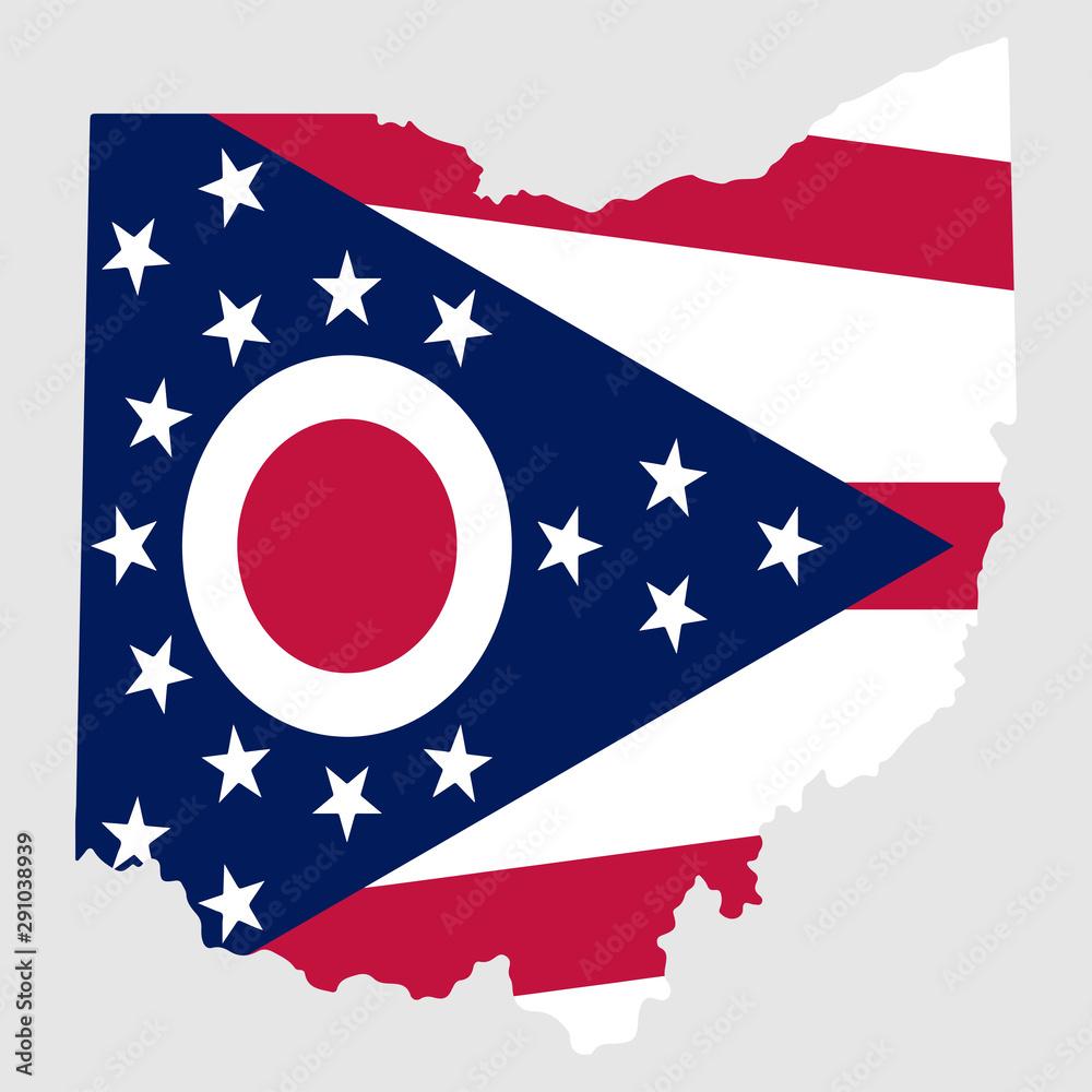 Fototapety, obrazy: Ohio Map Flag State Vector illustration