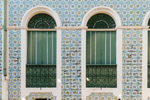 Window Close Up Of 19th Century House With Traditional Portuguese Tiles In The Historic Center Of Santarem, Pará State. Concept Of Historical Heritage, History, Architecture, Travel And Decoration.