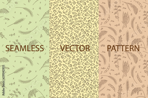 Carta da parati Vector set of packaging design templates, seamless patterns