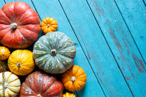 Photo assorted pumpkins and gourds on blue wood surface