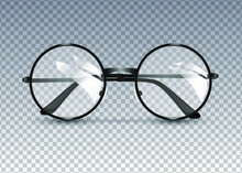Black Glasses Isolated On Transparent Background, Round Black-rimmed Glasses, Women's And Men's Accessory. Optics, See Well, Lens, Vintage, Trend. Vector Illustration. EPS10
