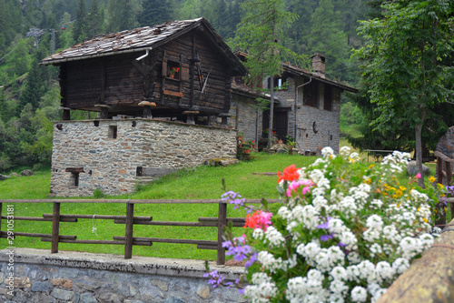 Aosta Valley/Italy-View of traditional wooden and stones village. Wallpaper Mural