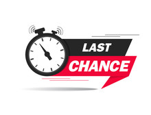 Red Ribbon With Clock And Last Chance Seal. Sale Banner With Countdown Alarm Clock For Retail, Shop, Social Media, Advertising. Promo Label With Last Chance And Limited Time On Clock. Vector