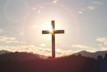 Christian, Christianity, Religion Copy Space Background.cross On Blurry Sunset Background.