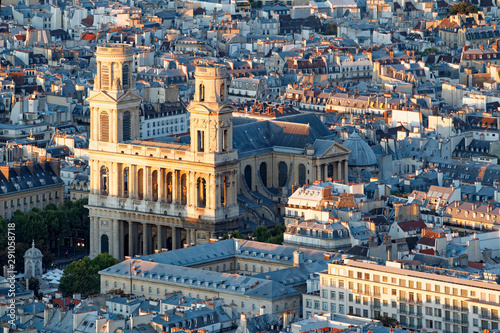 Poster de jardin Paris Aerial scenic view of central Paris with Saint-Sulpice cathedral. Photo taken from Montparnasse tower