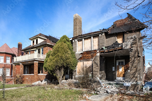 Fire damaged and abandoned houses in Detroit, Michigan Canvas Print
