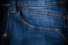 Retro Color Tone Of Blue Denim Jeans Fabric Texture For Background Website Fashion Design Or Backdrop Product.