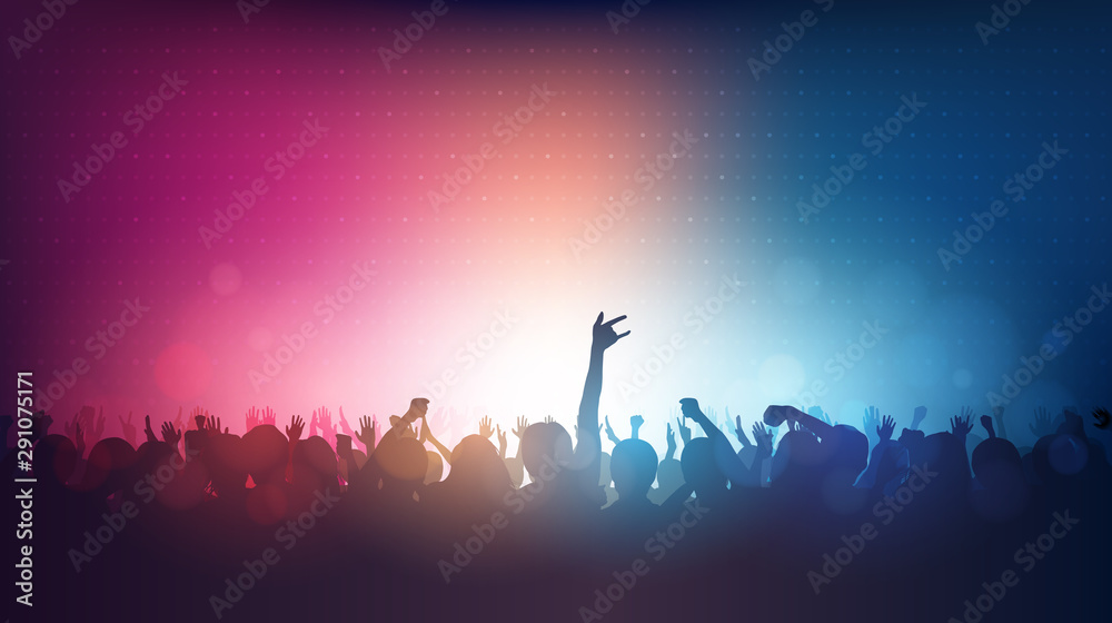 Fototapeta Silhouette of people raise hand up in rock concert with lens flare on red and blue color background