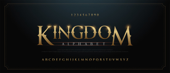 Elegant golden alphabet letters font set. Classic Custom gold Lettering Designs for logo, movie, game. Typography serif fonts classic style, regular uppercase and number. vector illustration