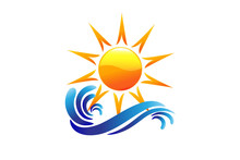 Logo Sun And Swirly Beach Waves Vector Mage Design