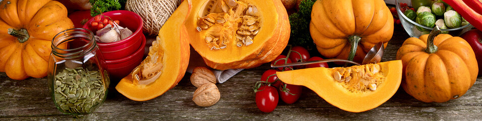 Healthy vegetarian fall food cooking background.
