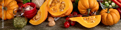 Healthy vegetarian fall food cooking background. Canvas