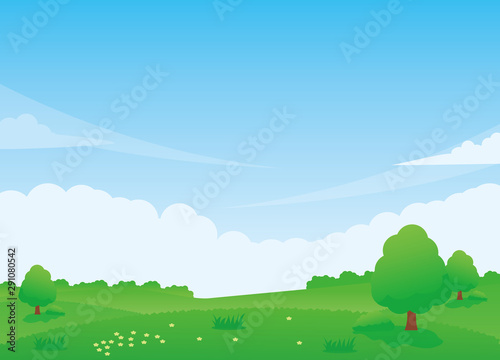 Nature landscape vector illustration with green meadow, trees and blue sky