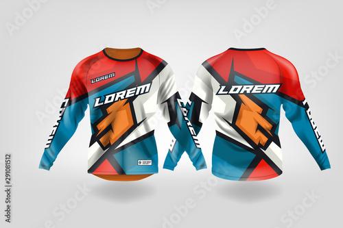 Fototapeta t-shirt sport design template, Long sleeve soccer jersey mockup for football club