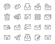 Set Of Mail Icons, Share, Send, Email, Contact, Letter