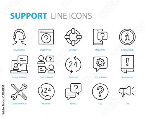Fototapeta set of support icons, help, customer service, info, assistant, advise obraz na płótnie