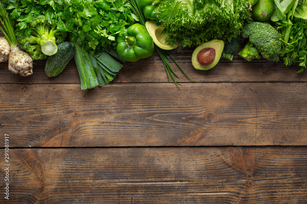 Fototapety, obrazy: Vegetable protein source. Top view healthy food clean eating. Green vegetable on wooden background top view