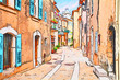Leinwanddruck Bild - Mons, Var, Provence, France: watercolor painting of the old town