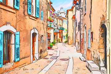 Mons, Var, Provence, France: watercolor painting of the old town