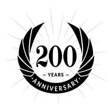 200 Years Anniversary Celebration Logotype. Elegant Anniversary Design. Two Hundred Years Logo.