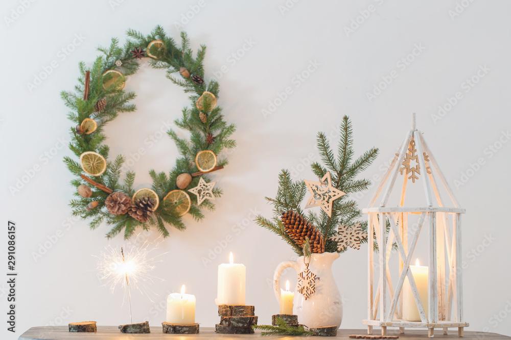 Fototapeta Christmas decoration on background white wall