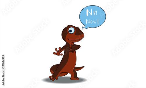 Canvas Print newt cartoon with N alphabet