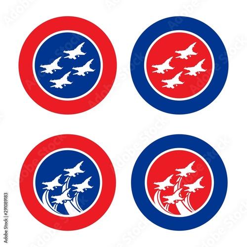 Cuadros en Lienzo Flying formation jet fighter emblem design vector for element design