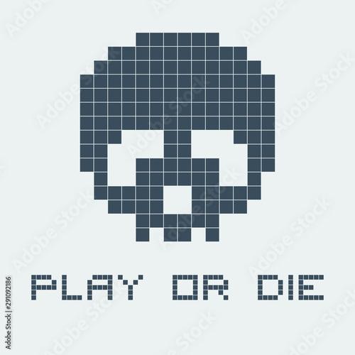 Obraz na plátne Old retro video game illustration with skull