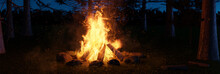 3d Rendering Of Big Bonfire With Sparks In The Forest At Night